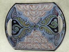 Moroccan handmade engraved blue ceramic tray.