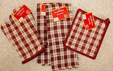 SET 4/STURBRIDGE SALTBOX PLAID KITCHEN TOWELS/POTHOLDER/MITT BURGUNDY/RED/NWT
