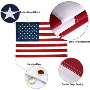4x6FT USA American Flag Heavy Duty Nylon Embroidered Sewn Stars Stripes Grommets