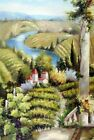 Italian Wine Vineyard Country Estate River Tall 24X36 Oil Painting STRETCHED