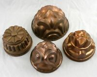 Set of 4 Antique Continental Copper Dome Molds Tin Lined