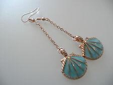 Vintage Art Deco Style Aqua Enamelled Shell Long Earrings Marine Theme Holiday