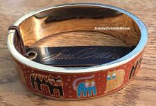 Laurel Burch Cat Hinge Bangle Bracelet FantastiCats Multi Rust Red Cloisonne NEW