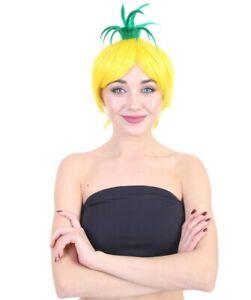 Adult Yellow Short Pineapple Bob Wig Halloween Party Fancy Dress Hair HW-1641A