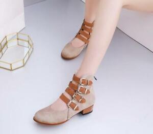 Ladies Boots Low-Heel Zipper Roman Non-Slip Thick Heel Boots Casual Classic Chic