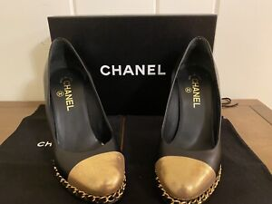 Chanel Black And Gold Chain Pumps With Box 38.5