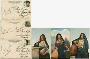 EGYPT 1911 PPCs POSTED in BURMA ARABIC GIRLS 3 CARDS to TELEGRAPH OFFICE RANGOON