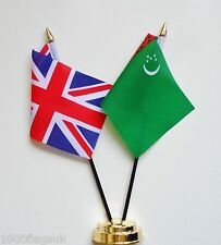 United Kingdom UK & Turkmenistan Double Friendship Table Flag Set