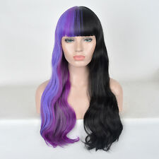 Fashion star women style wigs Blunt Bangs half black purple curly wavy Wig