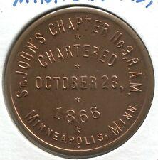 Masonic Exonumia - 1866 St. John's Chapter # 09 RAM- Minneapolis, MN - LIT # 499