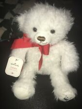 Hallmark Small Fuzzy Soft Stuffed White w/Red Bow Owen Teddy Bear Plush Nwt