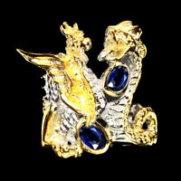 Unheated Oval Blue Kyanite 6x4mm 925 Sterling Silver Dragon Ring Size 8.5