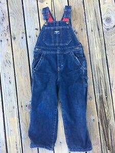 OshKosh B'gosh Boy Blue Denim Bib Red Fleece Lined Overalls Size 4T Toddler