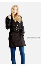 Select PU Sleeve Trench Coat Black Size UK 10 RRP £44.99 Box4626 D