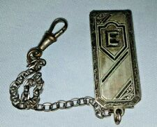 Clip Fob & Chain Art Nouveau Rare Antique Sterling Silver E Intial Pocket Watch