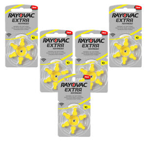 30 x Rayovac 10 Hearing Aid Batteries Yellow Tab 1.45v PR70 Zinc Air