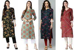Indian Women Red & Beige Bandhani Printed Straight Kurta Kurti Dress Top Tunic