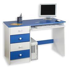 Bureau enfant multi rangements tiroirs support clavier pin massif blanc bleu