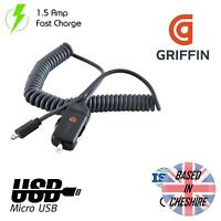 Griffin Car Charger PowerJolt SE Micro USB Coiled 1.5 Amp Ultra Slim Fast Charge