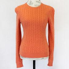 Ralph Lauren 2-Ply 100% Cashmere Cable Knit Orange Crew Neck Sweater Medium
