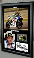 "Valentino Rossi Motor Cycle Framed Canvas Print Signed ""Great Gift"""