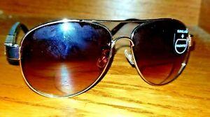 Foster Grant Brass Aviator Sunreader Sunglasses Reading Glasses w Driver Lenses