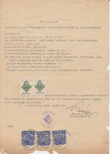 1946 Hungary Szombathely extract document used with multiple stamps