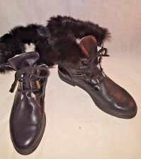 Lamondiale Made in Italy black leather Rabbit fur Cuff Boots Size 38 7,5M