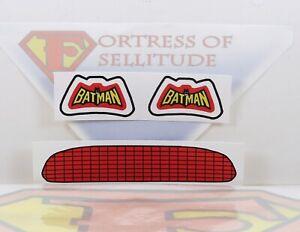 """Repro Mego 8"""" scale Vehicle parts- Batmobile UNCUT stickers,emblem,decal,Batman"""