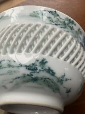 Japanese Imari Woven Reticulated bowl signed blue-and-white porcelain unusual