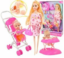 """11"""" Pregnant Doll Removeable Tummy Baby Girl Stroller Role Play Set Toy"""