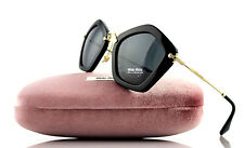 $450 NEW Genuine MIU MIU Glossy Black Pentagonal Sunglasses MU 06O 1AB-1A1 06OS