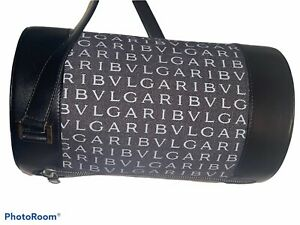 AUTHENTIC BVLGARI Logomania Bee Zero Hand Bag Black Gray cylinder round