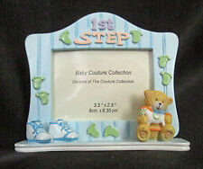 Baby Couture Collection Picture Frame 1st Step Teddy Shoes Foot Print Blue Resin