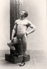 "Nude muscular man poses, antique photography, Falk, 1894 Photo,  16""x11"""