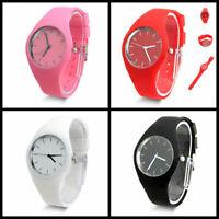New Women Men Jelly Dial Analog Sports Silicone Band Wrist Watch Fashion Gift
