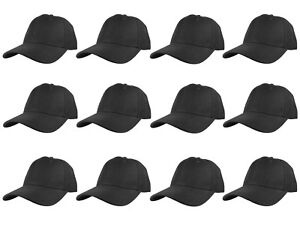 Plain Blank Solid Adjustable Baseball Cap Hats wholesale lot 12pcs