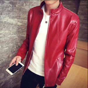 New Men's Stand Collar Faux Leather Jacket Coat Slim Zipper Motorcycle Jackets