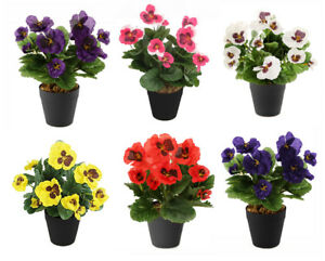 Best Artificial Pansy Plug Plant Bunch For Bedding or Basket - Pot NOT Included