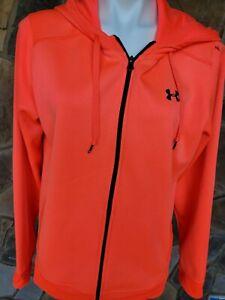Under Armour Womens Pink Logo Zip Up Sweatshirt Jacket Sz XL Hodded Long Sleeve