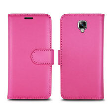 Plain Pink Leather Wallet Book Protect Phone Case for Apple iPhone 4 5 6 7 8 & X ZTE ZTE Blade L110