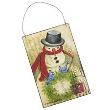 Collins Snowman and Bluebirds Hanging Wood Postcard Sign