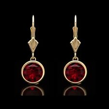 2.00 Ct Red Ruby Bezel Lever-back Earrings 14k Solid Yellow Gold Round Cut
