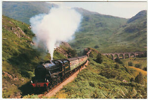 BRITISH RAILWAYS LOCOMOTIVE - 44932 at Glenfinnan Viadust in 1986  - postcard