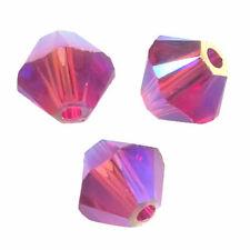 15 Perles Toupies 4mm Cristal Swarovski  - FUCHSIA AB2X