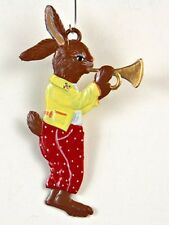 Artist Wilhelm Schweizer German Hanging Ornament Zinnfiguren- Bunny Playing Horn