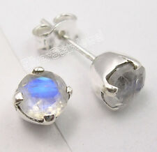 Stud Earrings @ $0.99, 925 Pure Silver BLUE FIRE RAINBOW MOONSTONE Free Shipping