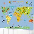 Cartoon World Map Vinyl Room Decor Wall Decal Sticker Bedroom Removable Mural