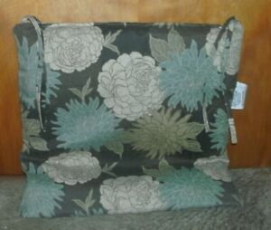 """BRAND NEW OUTDOOR CHAIR CUSHION BROWN/TEAL/NATURAL W/TIES MEASURES 19"""" X 19""""X 1"""""""