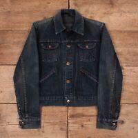 """Mens Vintage Wrangler Faded Dark Blue Denim Trucker Jacket Small 36"""" R13593"""